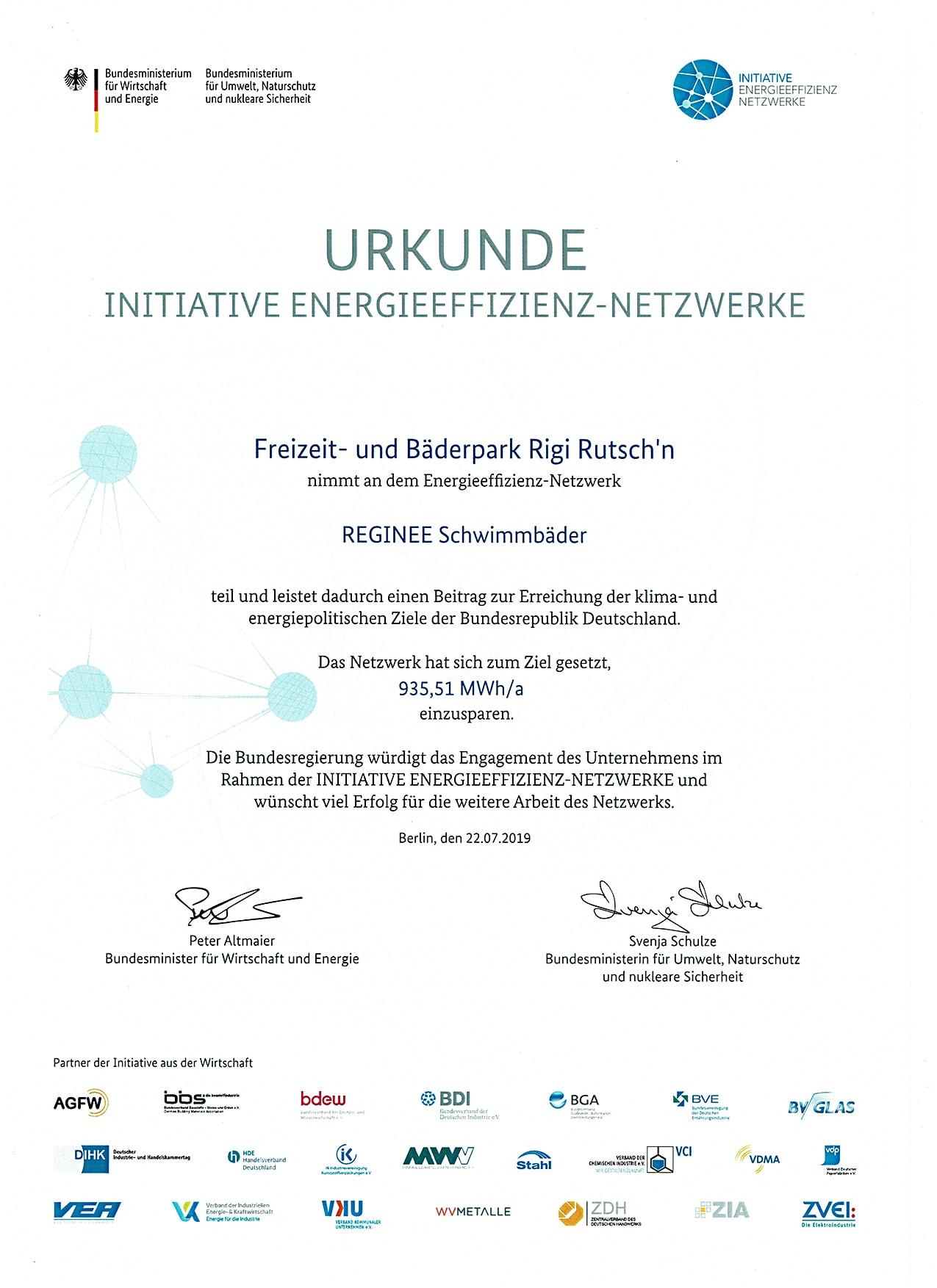 Reginee-Netzwerk Urkunde